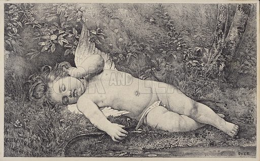 Sleeping Love, trade card for Godey's Lady Book.