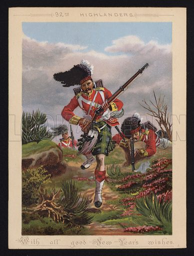British Army soldiers of the 92nd Highlanders, New Year greetings card.