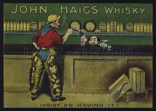 Cowboy in a saloon, advertisment for John Haig's whisky.