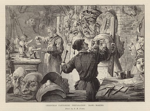Making masks for a Christmas pantomime. Illustration from the Christmas edition of the Penny Newspaper, 1894.