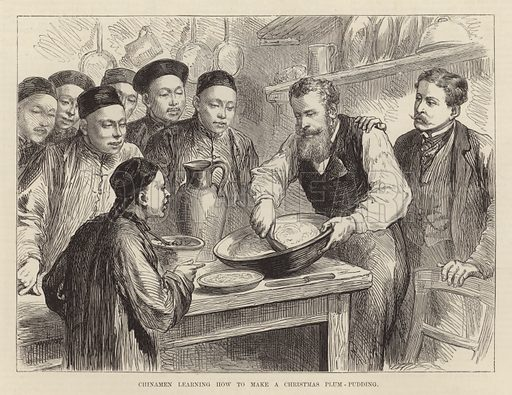 Chinamen learning how to make a Christmas plum pudding. Illustration from the Christmas edition of the Penny Illustrated Paper, 1894.