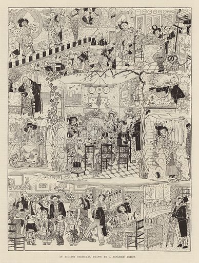 An English Christmas drawn by a Japanese artist. Illustration from the Christmas edition of the Penny Illustrated Paper, 1894.