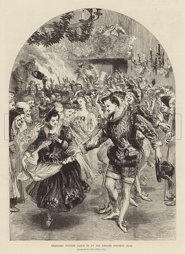 Christmas country dance in an old English baronial hall. Illustration from the Christmas edition of the Penny Illustrated Paper, 1894.