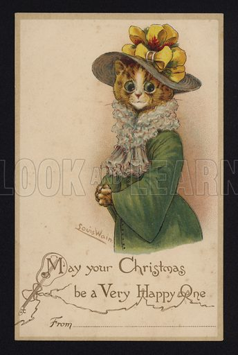 Cat wearing a woman's hat and coat, Christmas greetings card.