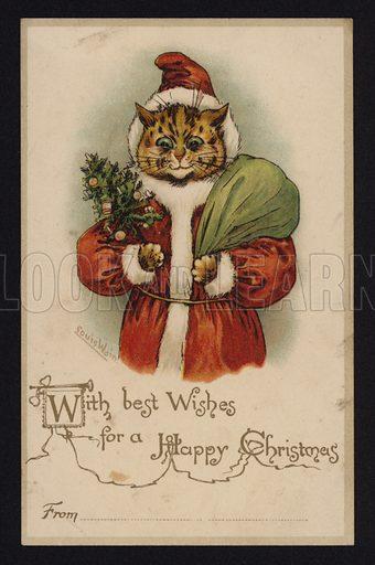 Cat as Santa Claus, Christmas greetings card.