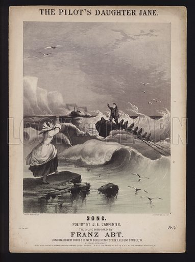The Pilot's Daughter Jane, song by J E Carpenter and Franz Abt, Victorian sheet music cover.
