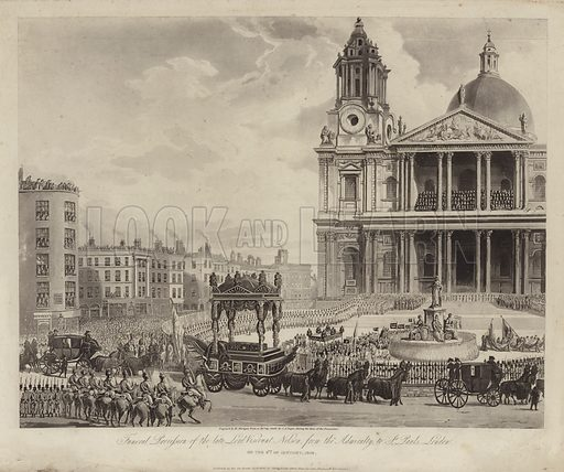 Funeral procession of Admiral Lord Nelson from the Admiralty to St Paul's Cathedral, City of London 9 January 1806.