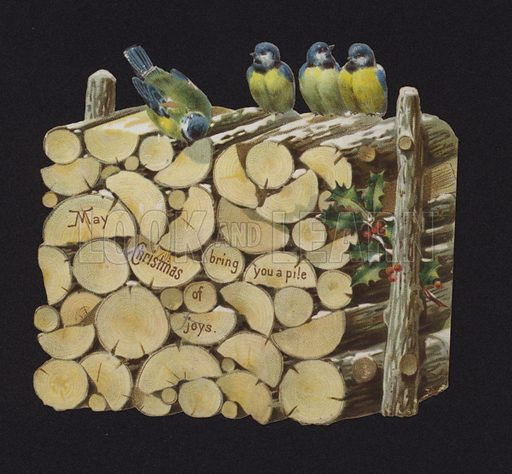 Blue tits on a pile of logs, Christmas greetings card, late 19th or early 20th Century.