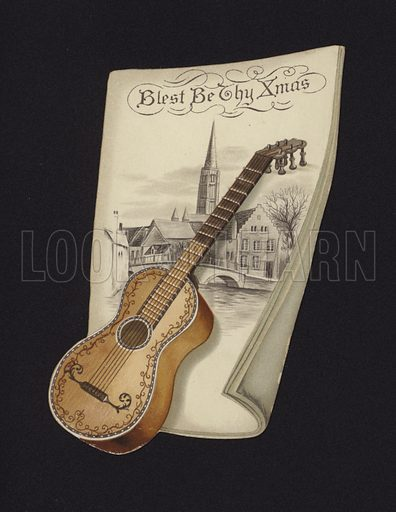 Guitar and picture of a church, Christmas greetings card, late 19th or early 20th Century.