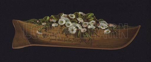 Boat filled with daisies, New Year greetings card, late 19th or early 20th Century.