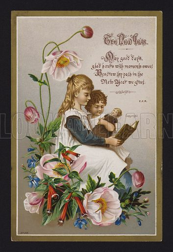 Children reading a book, New Year greetings card, late 19th or early 20th Century.