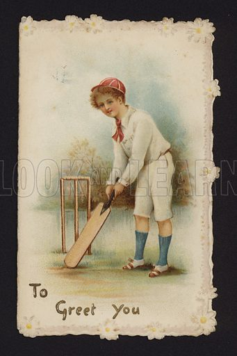 Boy playing cricket, greetings card, late 19th or early 20th Century.