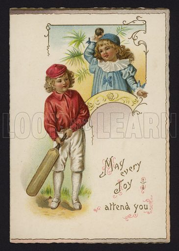 Boy and girl playing cricket, greetings card, late 19th or early 20th Century.