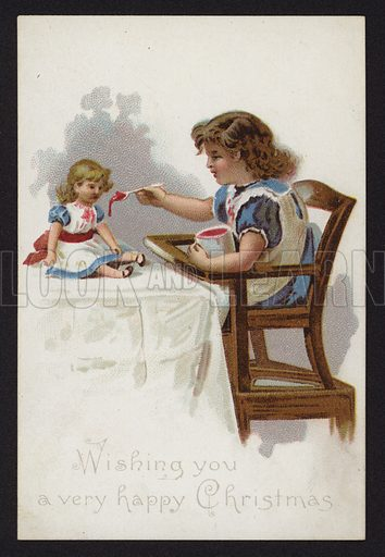Little girl playing at feeding her doll, Christmas greetings card, late 19th or early 20th Century.