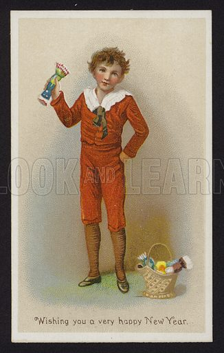 Boy with a basket of Christmas crackers, New Year greetings card, late 19th or early 20th Century.