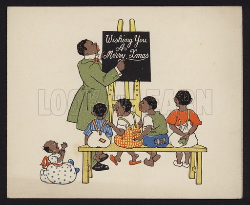 Black teacher with a class of schoolchildren, Christmas greetings card, early 20th Century.