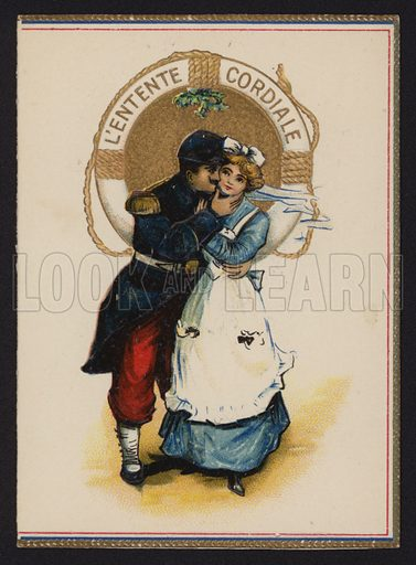 Entente Cordiale: French soldier kissing an English girl.