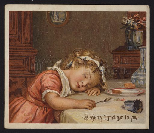 Little girl asleep at the dinner table, Christmas greetings card, late 19th or early 20th Century.