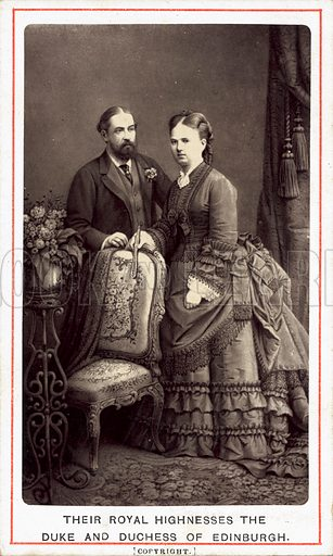 Duke and Duchess of Edinburgh (Alfred, Duke of Saxe-Coburg and Gotha (1844-1900), second son of Queen Victoria, and his wife, Grand Duchess Maria Alexandrovna of Russia (1853-1920).