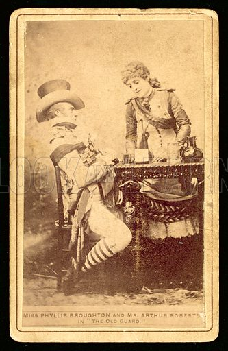 British comedians Phyllis Broughton and Arthur Roberts in H B Farnie's comic opera The Old Guard.