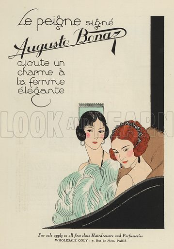Advertisement from the 1920s for hair accessories by Auguste Bonaz. Illustration from Art-Gout-Beaute - Feuillets de L'Elegance Feminine, August 1923. French fashion magazine.