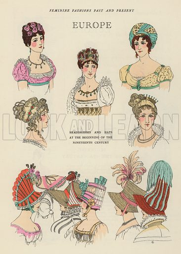 European headdresses and hats of the early 19th Century. Illustration from Art-Gout-Beaute - Feuillets de L'Elegance Feminine, August 1923. French fashion magazine.