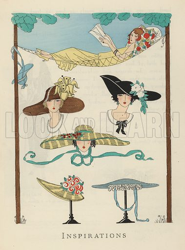 Hat designs from the 1920s. Illustration from Art-Gout-Beaute - Feuillets de L'Elegance Feminine, August 1923. French fashion magazine.