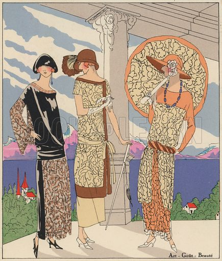 Women's daywear fashion by designers Edward Molyneux and Philippe and Gaston, 1920s. Illustration from Art-Gout-Beaute - Feuillets de L'Elegance Feminine, August 1923. French fashion magazine.