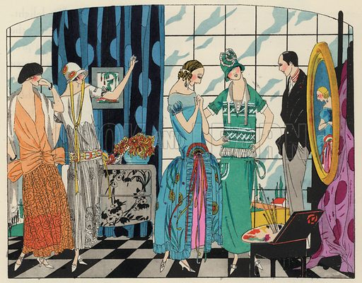 Women's fashion of the 1920s by designers Philippe and Gaston, Martial and Armand and Bernard. Illustration from Art-Gout-Beaute - Feuillets de L'Elegance Feminine, August 1923. French fashion magazine.