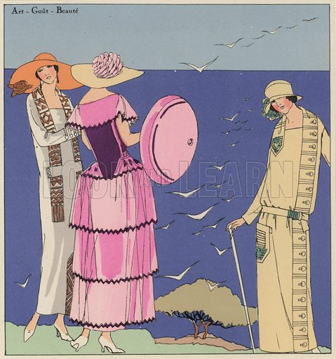 Women's fashion of the 1920s by designers Paul Poiret and Jacques Doucet. Illustration from Art-Gout-Beaute - Feuillets de L'Elegance Feminine, August 1923. French fashion magazine.