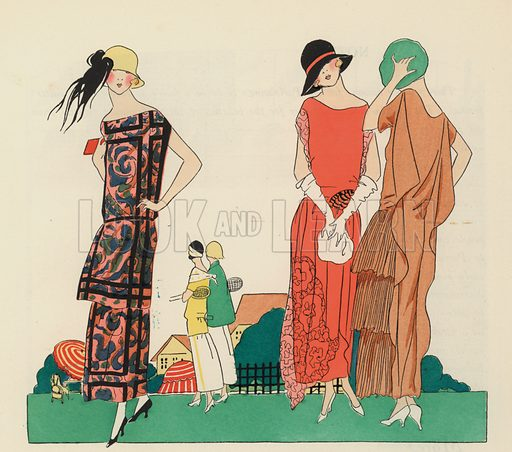 Women's dress designs from the 1920s by Premet and Christoph Drecoll. Illustration from Art-Gout-Beaute - Feuillets de L'Elegance Feminine, August 1923. French fashion magazine.