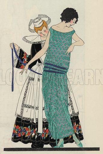 Women's daywear fashion by designer Georges Doeuillet, 1920s. Illustration from Art-Gout-Beaute - Feuillets de L'Elegance Feminine, August 1923. French fashion magazine.