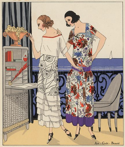 Women's fashion of the 1920s by designers Philippe and Gaston and Martial and Armand. Illustration from Art-Gout-Beaute - Feuillets de L'Elegance Feminine, August 1923. French fashion magazine.