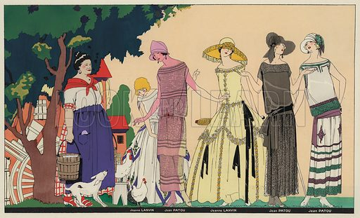 Women's fashion of the 1920s by designers Jeanne Lanvin and Jean Patou. Illustration from Art-Gout-Beaute - Feuillets de L'Elegance Feminine, August 1923. French fashion magazine.