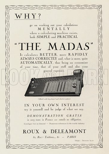 """Advertisement for """"The Madas"""", a 1920s calculating machine. Illustration from Art-Gout-Beaute - Feuillets de L'Elegance Feminine, February 1925. French fashion magazine."""