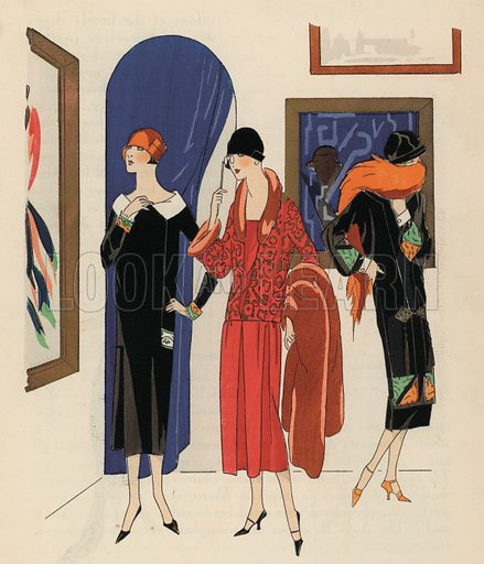 Women's fashion of the 1920s by designers Paul Poiret and Philippe and Gaston. Illustration from Art-Gout-Beaute - Feuillets de L'Elegance Feminine, February 1925. French fashion magazine.