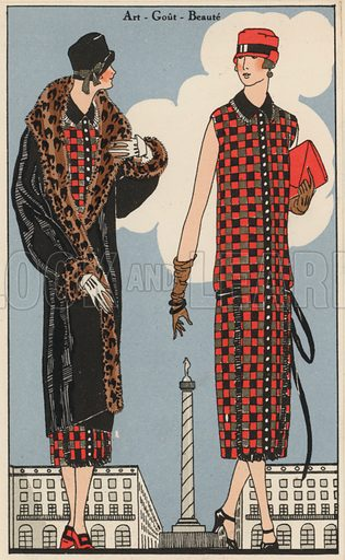Women's fashion by designer Georges Doeuillet, 1920s. Illustration from Art-Gout-Beaute - Feuillets de L'Elegance Feminine, February 1925. French fashion magazine.