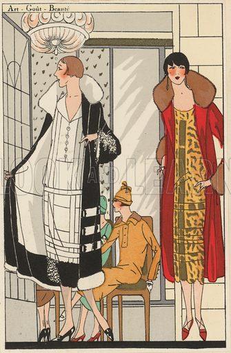 Women's fashion of the 1920s by designer Lucien Lelong. Illustration from Art-Gout-Beaute - Feuillets de L'Elegance Feminine, February 1925. French fashion magazine.