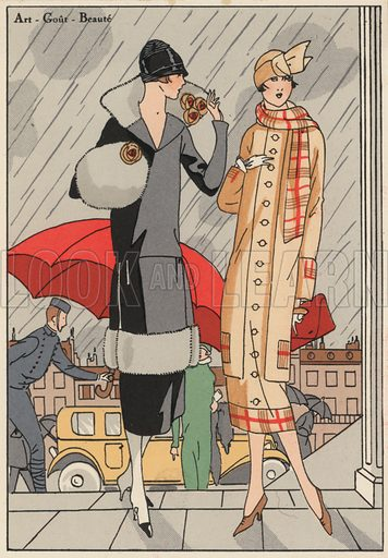Women's fashion of the 1920s by designers Premet and Gustave Beer. Illustration from Art-Gout-Beaute - Feuillets de L'Elegance Feminine, February 1925. French fashion magazine.