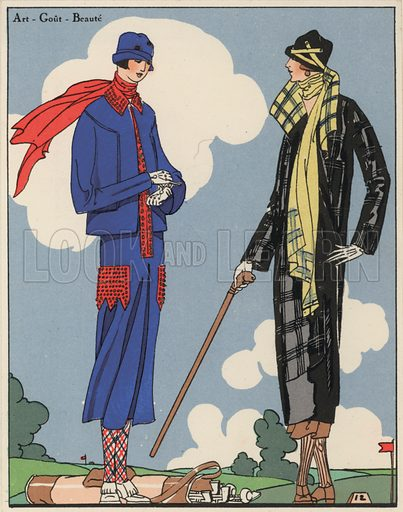 Women's golf wear fashion from the 1920s by designers Martial and Armand, and Christoph Drecoll. Illustration from Art-Gout-Beaute - Feuillets de L'Elegance Feminine, February 1925. French fashion magazine.