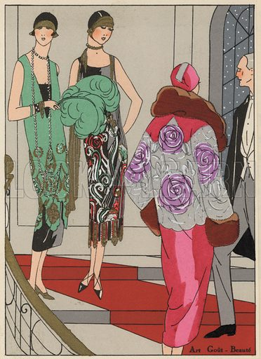 Women's evening wear fashions of the 1920s by designers Edward Molyneux and Martial and Amand. Illustration from Art-Gout-Beaute - Feuillets de L'Elegance Feminine, February 1925. French fashion magazine.