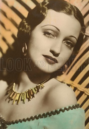 Dorothy Lamour, American actress and singer.  Postcard early 20th century.