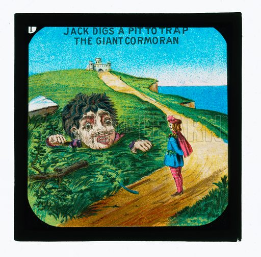 One of a set of Coloured Lantern Slides telling the story of Jack The Giant Killer.  Early 20th century.