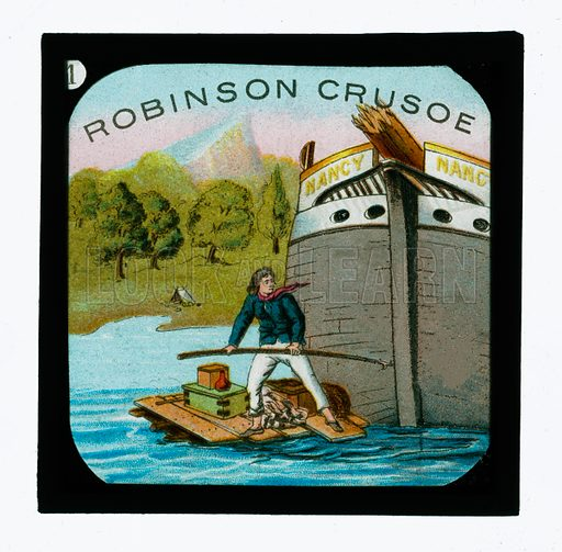 Robinson Crusoe.  One of a set of colour lantern slides, c 1900.