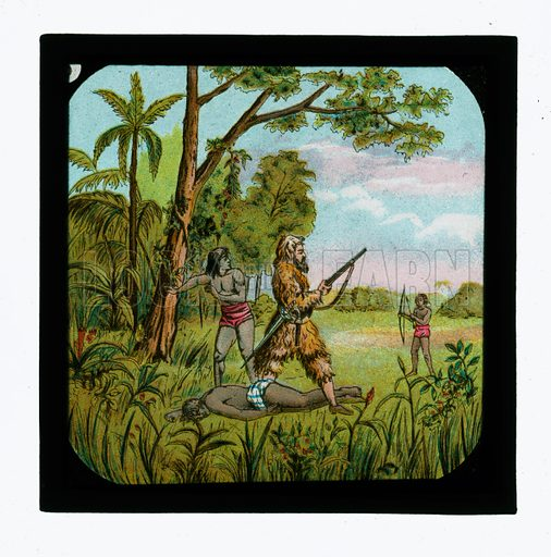 Robinson Crusoe.  One of a set of colour lantern slides, c 1900.