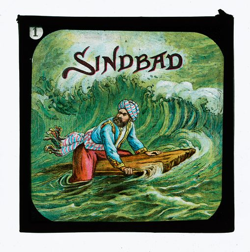 Sindbad.  One of a set of coloured lantern slides, c 1900.