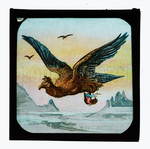 Sindbad.  One of a set of coloured lantern slides, c 1900.