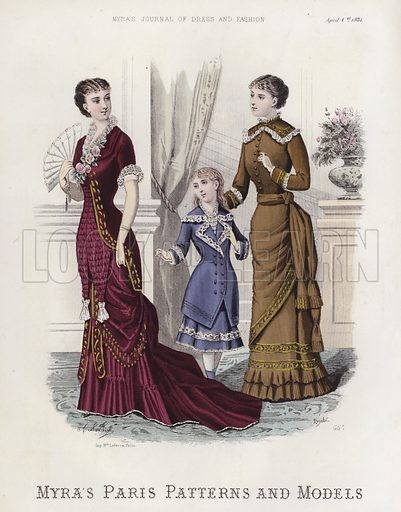 Myra's Paris Patterns and Models. Illustration for Myra's Journal of Dress and Fashion, 1 April 1881.