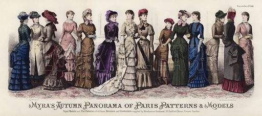 Myra's Autumn Panorama of Paris Patterns and Models. Illustration for Myra's Journal of Dress and Fashion, 1 November 1881.