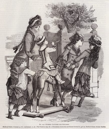 Summer Costumes for Children. Illustration for Myra's Journal of Dress and Fashion, 1 June 1881.